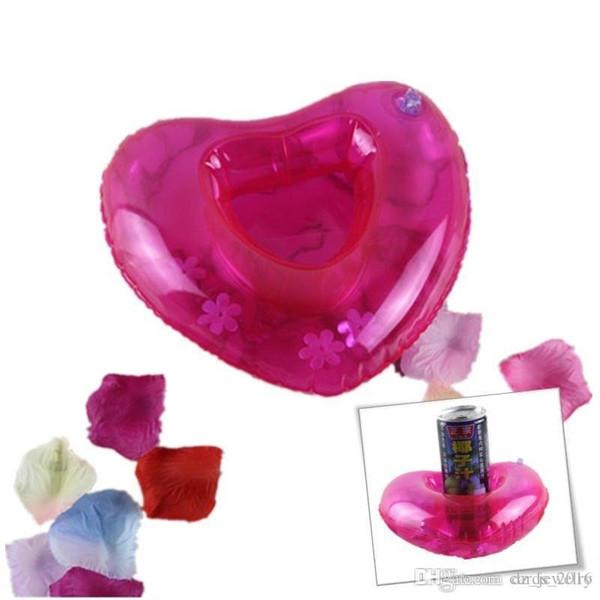 Rosso gonfiabile a forma di cuore amore bere tazza titolare sottobicchiere galleggiante bottiglia piattino giocattolo da bagno piscina per la decorazione del partito spiaggia