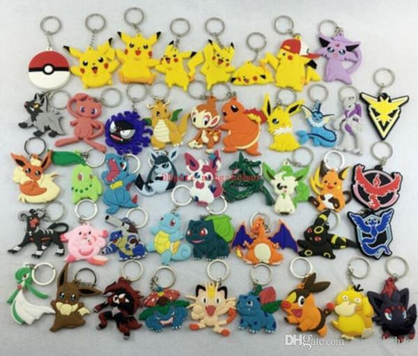 40 PCS / lot animés jouets enfants Pikac hu Pokeball catoon PVC Action Figure Modèle téléphone jouets porte-clés Pendentif Chaveiro clé cadeau Bague