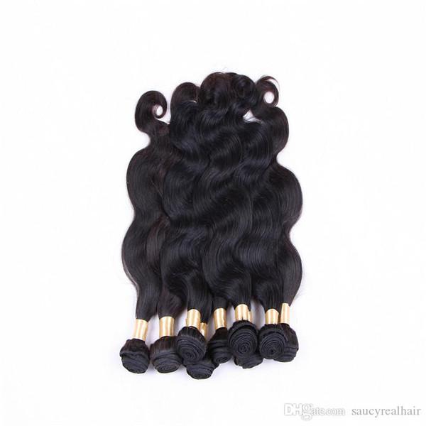 La trama dei capelli dell'onda del corpo 3 pacchi il 100% capelli umani tesse le estensioni brasiliane dei capelli peruviani il colore naturale 1b 12-28 pollici, DHL libero