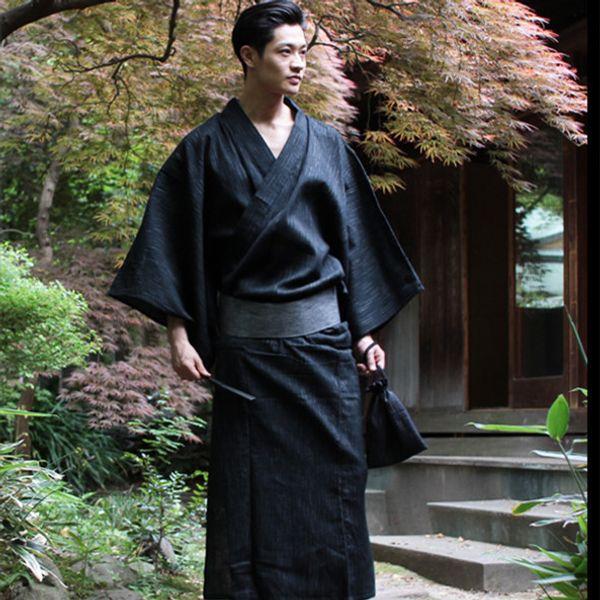 Kimono japonais traditionnel Yukata Mens 95% coton robe de chambre mâle salon peignoir avec ceinture plus taille pyjama d'été ensemble A52801