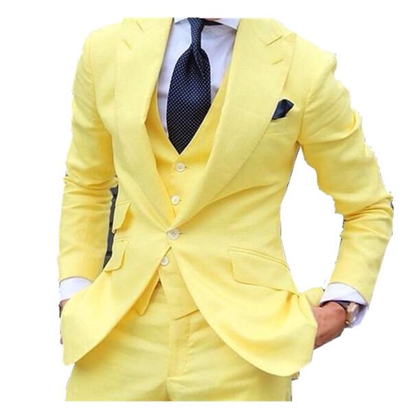 Custom Made Yellow Men Suits Slim Fit Notched Lapel Formal Groom Prom Dress Tuxedo Male Coat 3 Piece Blazer Vest+Jacket+Pant