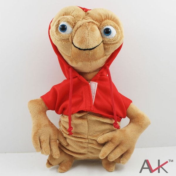 muñeca de peluche ET Extraterrestre Alien Muñeca de peluche rellena suave con capucha Anime Cartoon Collection Toy Rojo Gris Aproximadamente 28cm / 11 \
