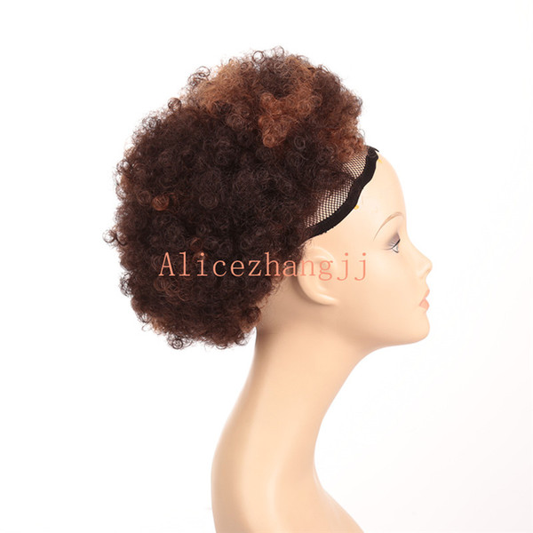 Afro Hair Bun Ponytails Extensions Natural Synthetic Hair Curly Donut Chignon Clip In Bun Hairpiece For Black Women