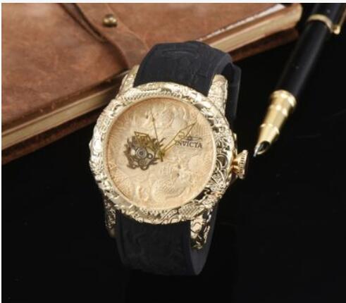 Luxus Hohe Qualität INVICTAS Quarz Herrenuhr Freizeit Tag Sportuhr Diamant Drachen Totem Silikon Gürtel