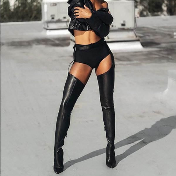 Hot Perixir PU Over-the-Knee Boots High Boots Rihanna Style Over-Knee Boots, Women's Tips 10cm, High Heel Boots