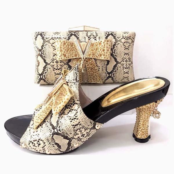 Neueste Gold Farbe Neuesten Design Passende Italienische Schuh und Tasche Set Hochzeit und Party Afrikanische Schuh und Tasche Set High Heels Big Siz