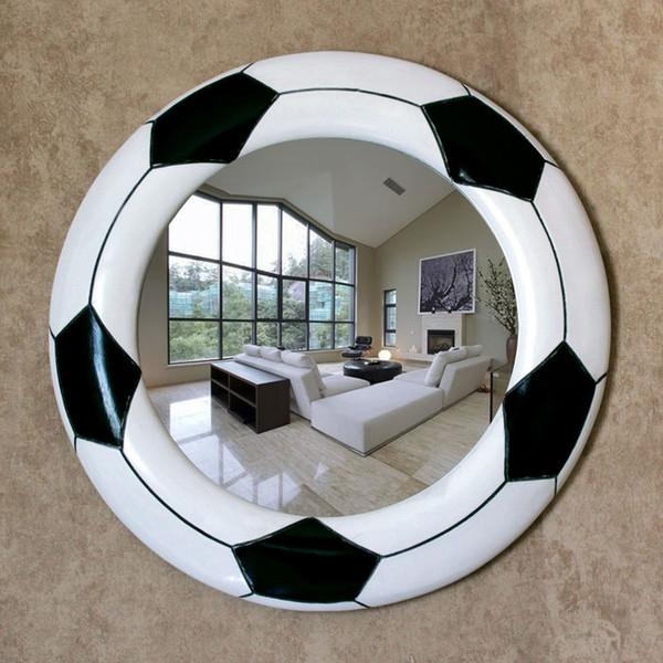 45.5cmx45.5cm минималистский современный черно-белый творческий футбол зеркало в ванной стене висит зеркало в ванной