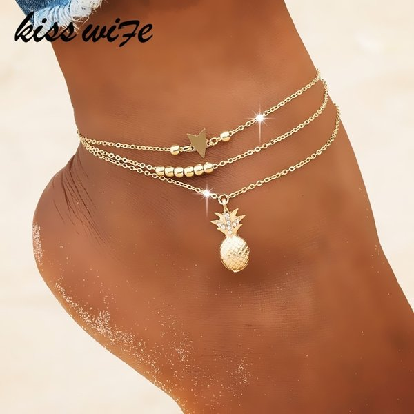 Ankle Chain Pineapple Pendant Anklet Beaded Summer Beach Foot Jewelry Fashion Style Anklets For Women