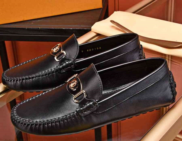 Brand Men cow leather Flat Doug drive shoe Slip-On Fashion formal Suit Business Moccasins Flats Casual Metal Buckle Horsebit Loafers,38-46