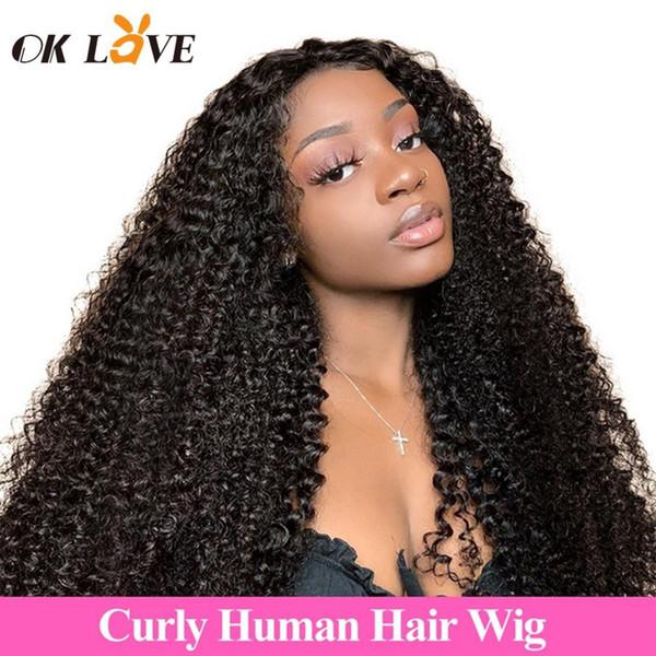 OKLove lockiges Menschenhaar Perücken 4 x 4 Lace Frontal Echthaar Perücken für Frauen natürliche Farbe Non-Remy brasilianisches Haar Perücken kein Geruch