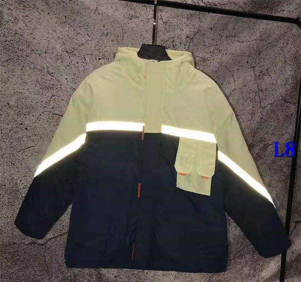 Мужские Марка пуховики с отражающей полосы Роскошная мужская куртка Outdoorwear Ветровка с Letters куртки Clothings Размер S-2xlH