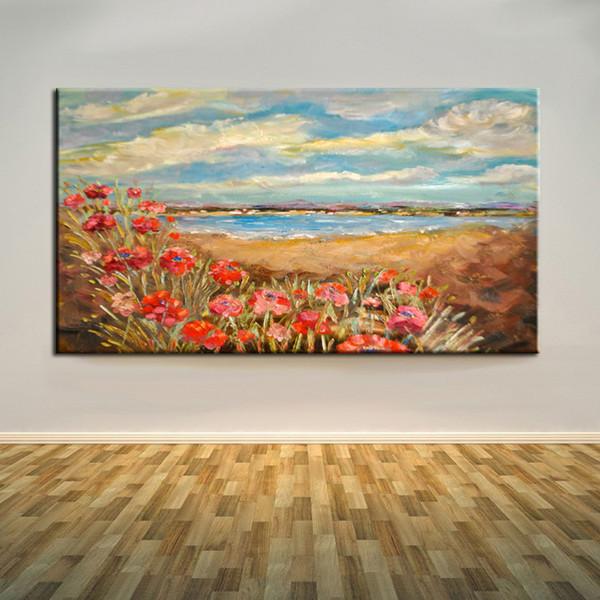 Più recente Arrivo Impression Handmade Flowers Sea Landscape Oil Painting On Canvas Dipinti ad olio Astratti di papaveri rossi dipinti a mano