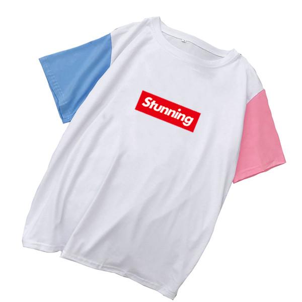 Kpop Sıcak Satış Tshirt Kadınlar Yaz Patchwork Renk Bloğu Kırmızı Beyaz Mektuplar T gömlek Harajuku Pastel Renk Kore Tarzı Tee Tops