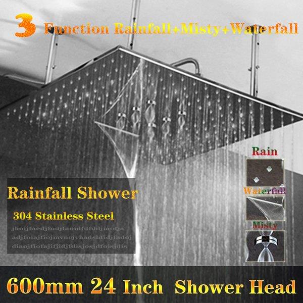 Ceiling Mounted Waterfall Shower Heads Big Water Shower Bathroom Concealed Showerhead 600x600mm Showers 304 SUS Multi function
