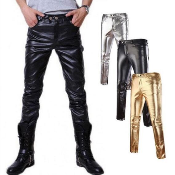 2019 heißer Verkauf Hip Hop Herren Lederhosen Kunstleder Pu Material 3 Farben Motorrad Skinny Faux Casual Pants