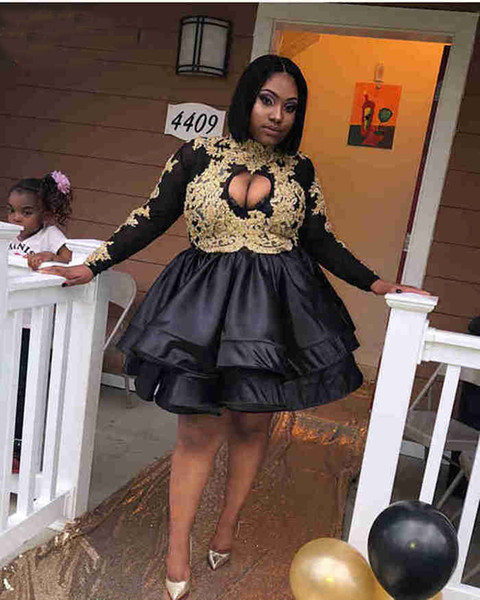 Cute High Neck Long Sleeve Gold Lace African Short Prom Dresses 2019 Black Satin Girl Party Gowns Homecoming Dresses Graduation Wear