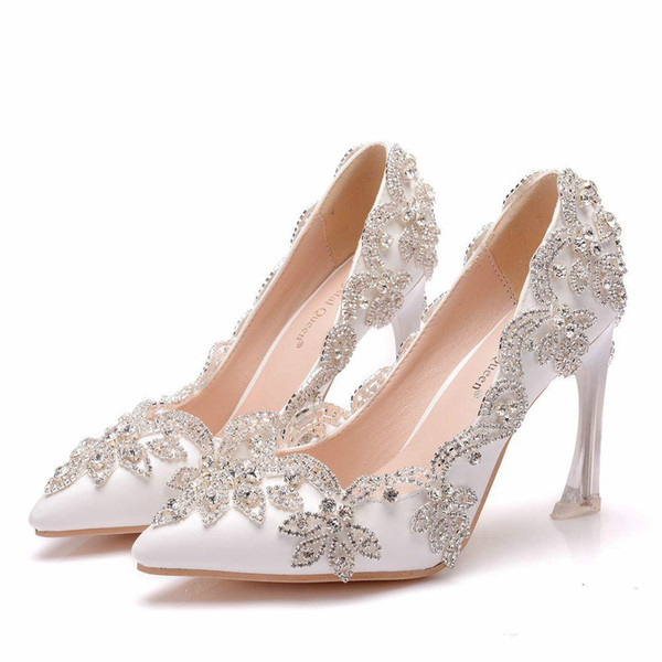 2019 White Wedding Bridal Shoes High Heel Pump High Thin Heels Pointed Toe Crystal Beads Prom Bride Bridesmaid Shoes For Party Wedding..