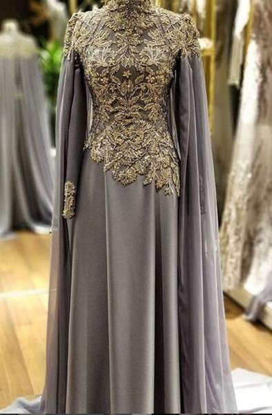 Sexy Grey 2019 African Dubai Evening Dresses Long Sleeves Beaded Lace Satin Prom Dresses Sexy Cheap Formal Party Bridesmaid Pageant Gowns