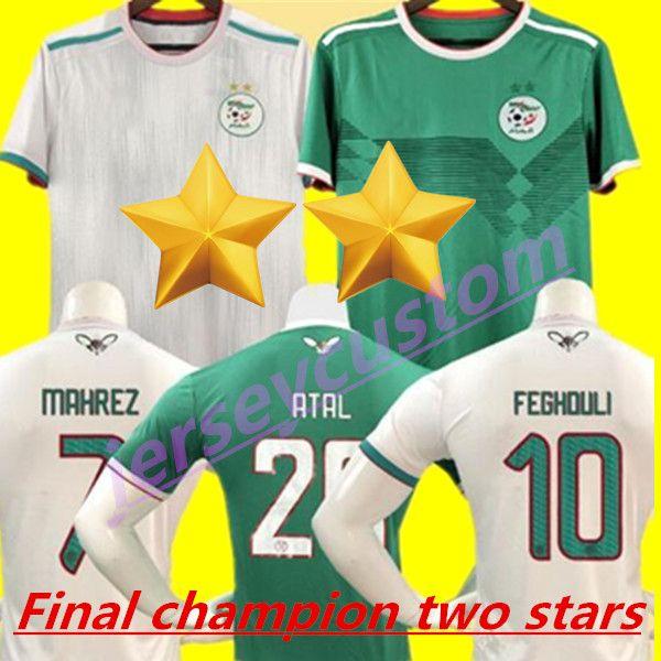 TOP QUALITÄT 2019 Afrika Cup Algerien 2 Sterne Trikot MAHREZ FEGHOULI ATAL DELORT Trikot 19 20 Algerien Meister maillot de foot