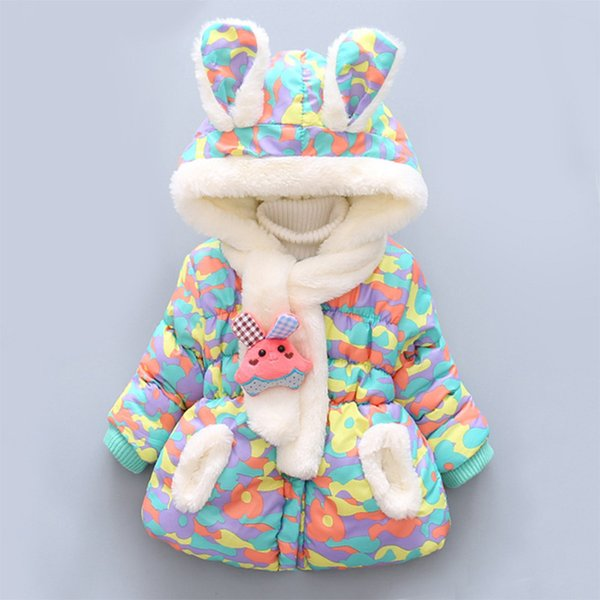 Colorful Newborn Baby Girls Coat Hooded Winter Coat for Girls Warm and Soft Jacket for Baby Girls 12-24 Months