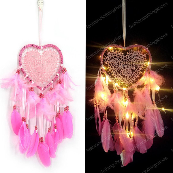 top popular 3 Colors LED Wind Chimes Heart-shaped Handmade Dreamcatcher Feather Pendant Dream Catcher Creative Hanging Craft Wish Gift Home Decoration 2021