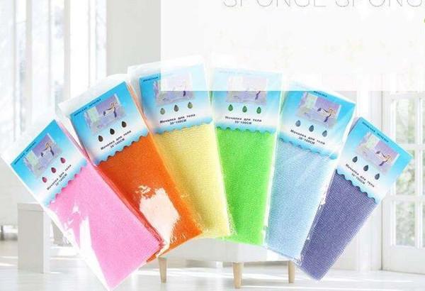 100cm*30cm Salux Nylon Japanese Exfoliating Beauty Skin Bath Shower Wash Cloth Towel Back Scrub Bath Brushes Multi Colors