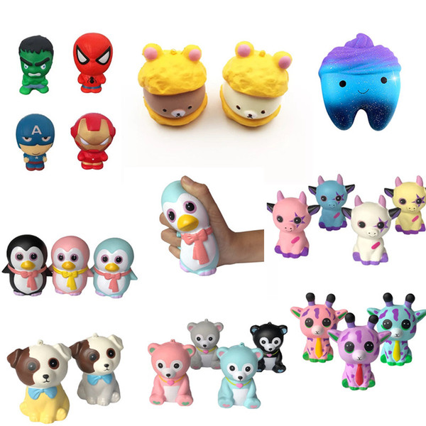 Unicorn Fidget Squishy Toy Dog Bear Fawn peach tooth shit penguin squishies Slow Rising Soft Squeeze Cute Strap gift Stress Gag Toys