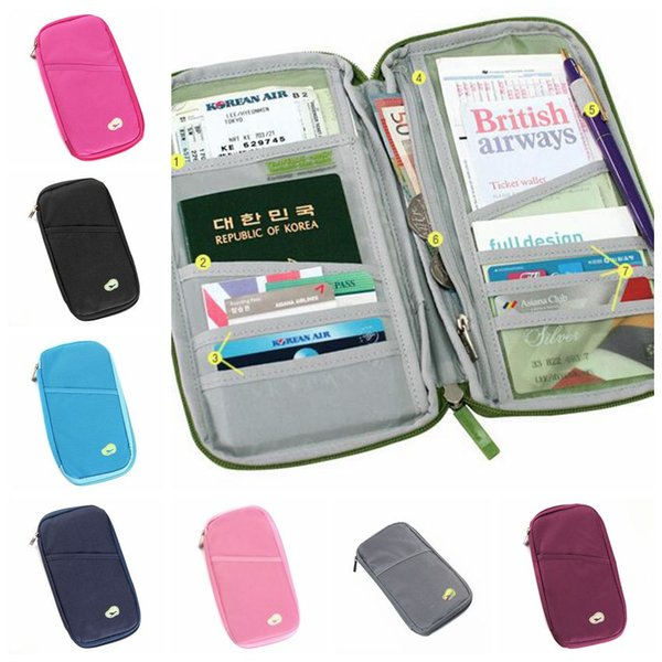 Passport Holder Ticket Wallet ID Credit Card Storage Bag Travel Passport Wallet Holder Organizer Purse Bag Outdoor Bags CCA11758 30pcs