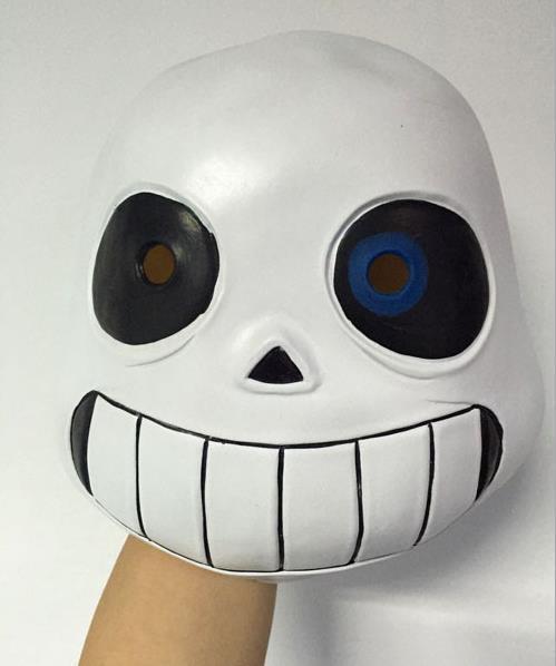 Latex Full Head Latex Sans Mask Cosplay Skull Mask Hood Masque Halloween Adult Kids Undertale Sans Masks Helmet Fancy Dress Game prop favors