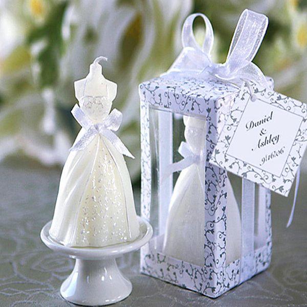 20 Stücke Neu Kommen Weiß Elegante Boxed Braut Brautkleid Kleid Design Kerze Hochzeit Party Decor Valentinstag Überraschung Decor