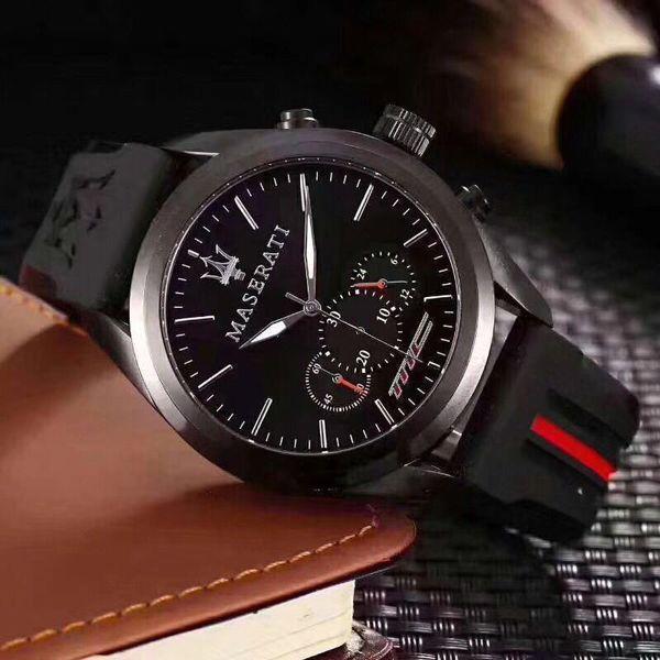 Fashion Mens Sport Wrist Watch Top Brand maserati Rubber Strap Quartz Movement Gift Time Clock Wacth Relojes Hombre Horloge Orologio Uomo