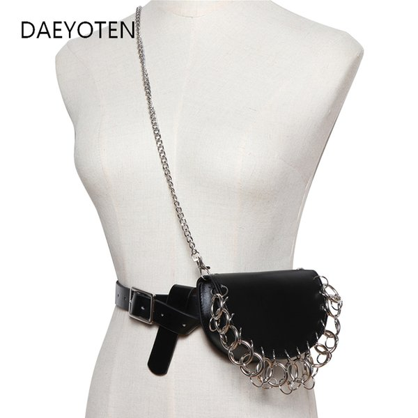 DAEYOTEN Punk Multi-circle Waist Bag Women Buckle Motorcycle Leather Belt Bag New Fashion Small Luxury Design Fanny Pack ZM0451