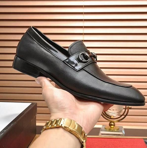 Designer Formal Dress Shoes For Gentle brands Men Genuine Leather Shoes Pointed Toe Mens designer Business Oxfords Casual shoes V4
