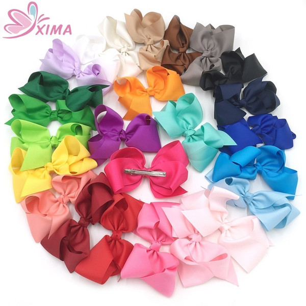 Xima 32pcs / lot 6 pouces Big Hair Ribbon Bows Enfants Accessoires de cheveux Hair Bows Épingles À Cheveux Pour Les Adolescents Tout-Petits Enfants Femmes 25 Couleurs J190507