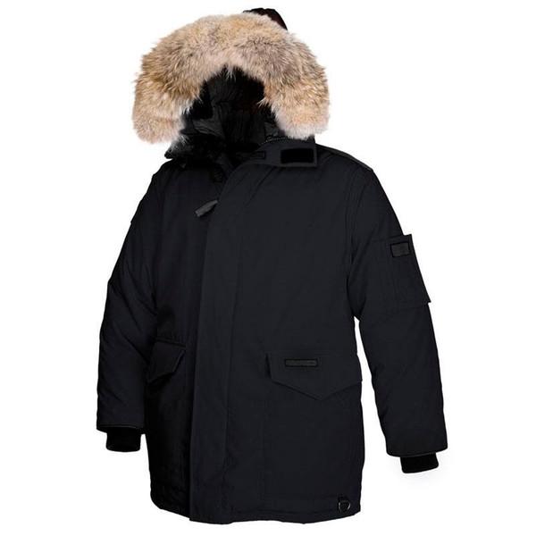 2018 invierno caliente de la capa Heli-Ártico Parka lujoso grande piel del lobo Goose Parka con capucha espeso pelaje Lorette parkas para los hombres Heatkeep Chaqueta de Down