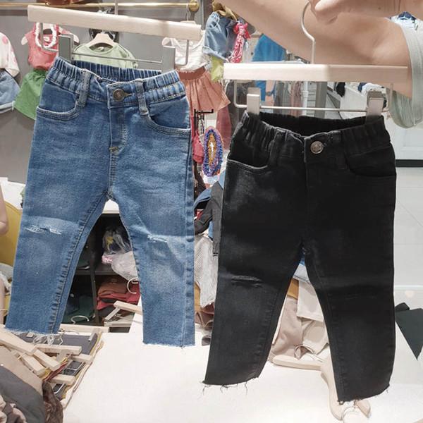 Yeni Sonbahar Çocuk Kot delik kız kot moda çocuk giysi tasarımcısı kızlar skinny jeans çocuk pantolon kız giyim çocuk giyim A6598