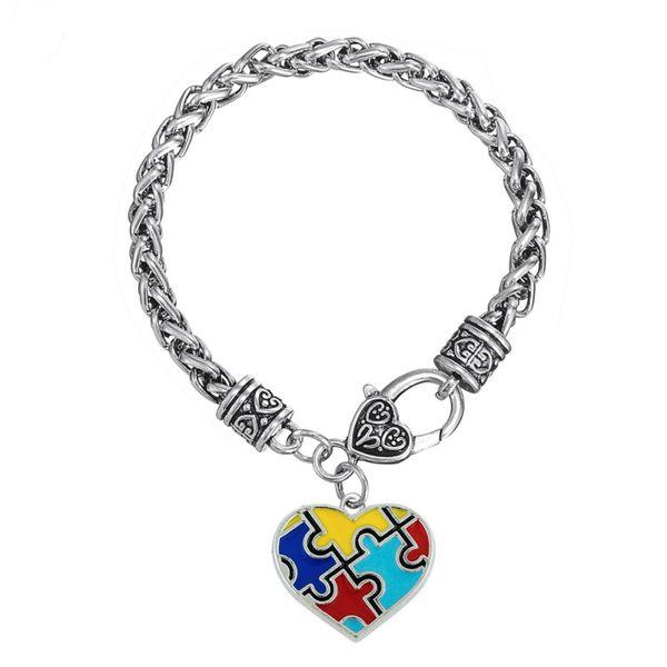 BC01 Puzzle a forma di cuore a forma di goccia di olio etnico fatto a mano in metallo braccialetto