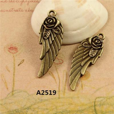 30*11MM Zinc alloy metal pendant angel wings charm for bracelet - vintage antique bronze Rose flower jewelry accessories DIY