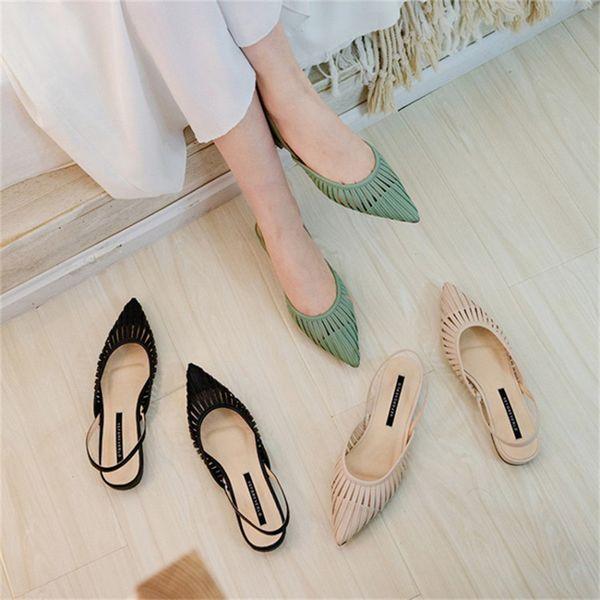 Meifeini 2019 Sommer wies flache Schuhe Mode niedrig mit Damen Sandalen Leder flach mit Damen Hausschuhe hohlen Müller