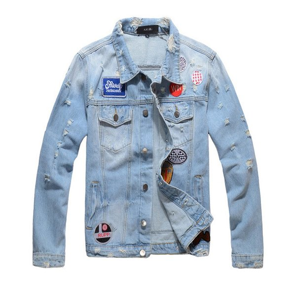 best selling 2019 Men's Denim Jacket Trend Western Jacket Style Brand Designer Jacket Denim Washing Old Broken