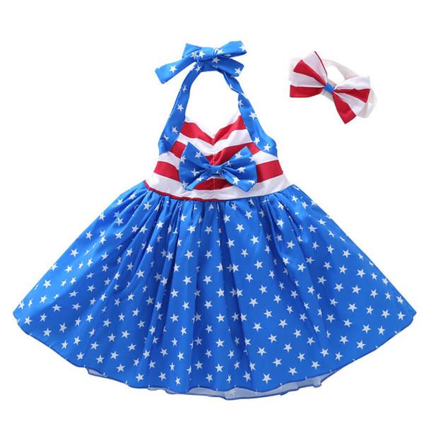 Girls Star Striped Dress Summer Children American flag Independence Day Sling Backless Princess Dress Kids Headband Clothing B11