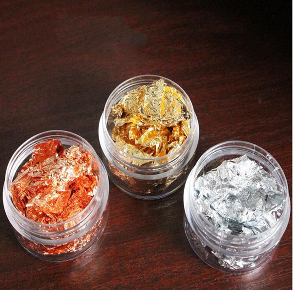 3 Jars Nail art foil - 3 different colors - gold, rose gold and silver Metallic Nail foil for nail art design, Leaf Flakes D18120801