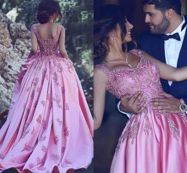 Lovely Ball Gown Pink Prom Dresses Long Embroidered Sweetheart Draped Satin Evening Dress Women Special Occasion Dress Formal Gowns Party