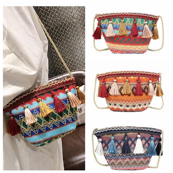 3styles Ethnic style Weaving Tassel Shoulder Bag Handbag Vintage Messenger Bag Crossbody Bags for Women Beach party Bag FFA1905