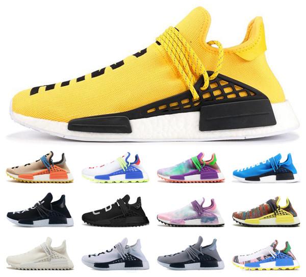top popular Top NMD Human Race yellow Nobel ink Mens Womens Mc Tie Dye Solar Pack Shoes Pharrell Solar Pack Orange Sport Trail Running Sneaker 2019