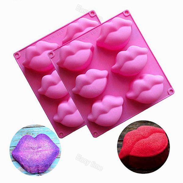 Sexy labbra rosse 3d fondente in silicone torta al cioccolato che decora muffa gomma da masticare caramelle gelatina muffa cera per sapone per baby shower forniture per feste di nozze