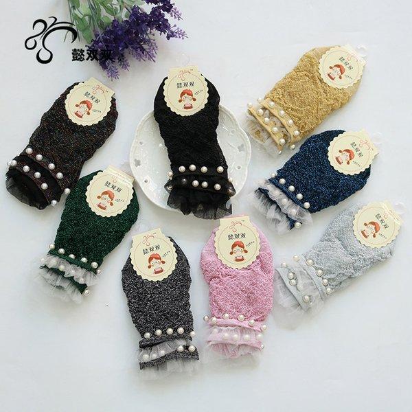 5pcs Mujeres del verano ultrafinas calcetines de barco de seda de plata de la perla de seda Medias de cristal