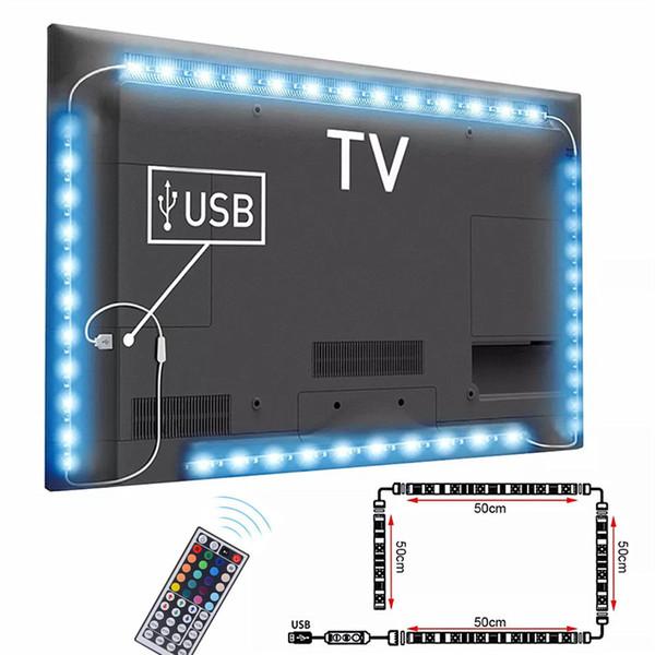 DC5V Cable USB Lámpara de luz de tira LED SMD 5050 TV Kit de iluminación de fondo Lámpara de fondo de escritorio para TV Pantalla de visualización de computadora