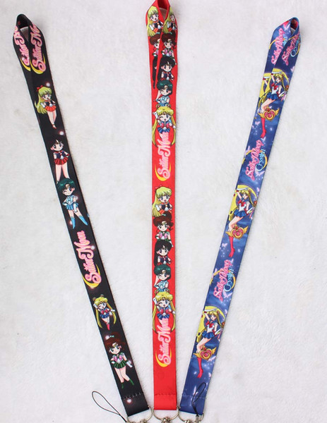 Free Shipping 200 Pcs Popular Japanese Anime Sailor Moon key chains Mobile Phone Neck Straps Keys Camera ID Card Lanyard