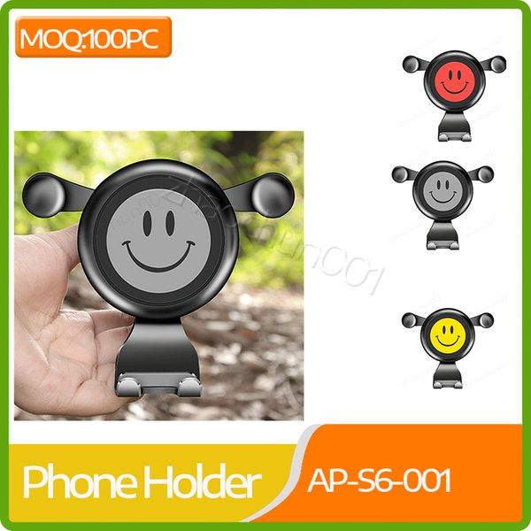 Großhandel Auto Schwerkraft Air Vent Clip Handyhalter niedlichen Lächeln Gesicht 360 Grad drehbare Halterung Ständer Autotelefon Navigation GPS Rack Halter